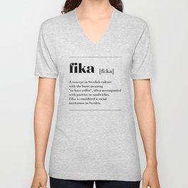 Fika swedish coffe break tradition Unisex V-Neck