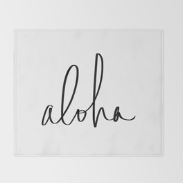 Aloha Hawaii Typography Throw Blanket