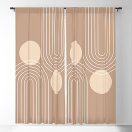 Mid Century Modern Geometric 74 in Beige Brown (Rainbow and Sun Abstraction) Blackout Curtain