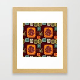 Retro pattern Tropical leaves Framed Art Print