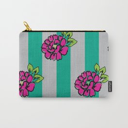 Pop Pink Flowers on Mint Stripe Pattern Carry-All Pouch
