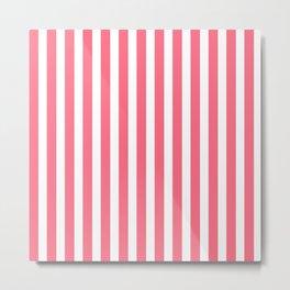 Pink & White Stripes Metal Print