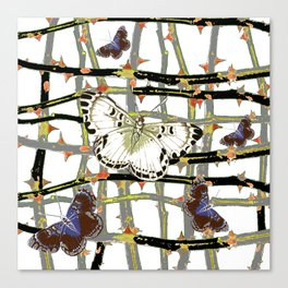 MOTHS ABSTRACT ON BLACKTHORNE LATTICE Canvas Print