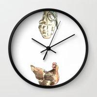 cock Wall Clocks featuring Blow Cock by Lathan Vargason