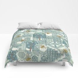 hexagon city Comforters
