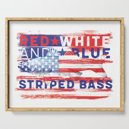 Fishing American Flag Striped Bass Tee Serving Tray