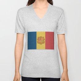 Flag of Andorra, officially the Principality of Andorra. Unisex V-Neck