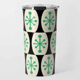 Mid Century Modern Atomic Fusion Pattern 311 Green and Black Travel Mug