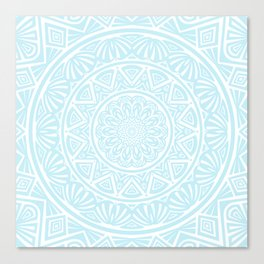 Light Sky Blue Aqua Simple Simplistic Mandala Design Ethnic Tribal Pattern Canvas Print