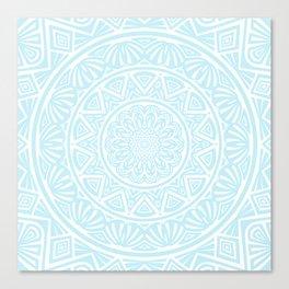 Light Sky Blue Aqua Simple Simplistic Mandala Design Ethnic Tribal Pattern Canvas Print