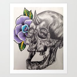 Skull and Rose Art Print