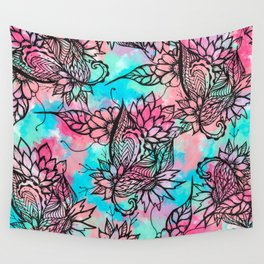 Modern floral watercolor hand drawn fall trend Wall Tapestry