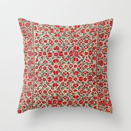 Bokhara Suzani 18th Century Floral Embroidery Print Throw Pillow