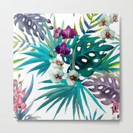 Tropical Watercolor Pattern Metal Print