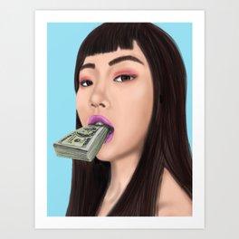 She speaks money Art Print