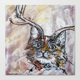 Rusty, the Great Catalope (cat with antlers) Canvas Print