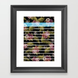 BOTANICAL STRIPES D01 Framed Art Print