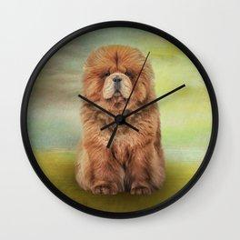 Drawing dog chow chow Wall Clock