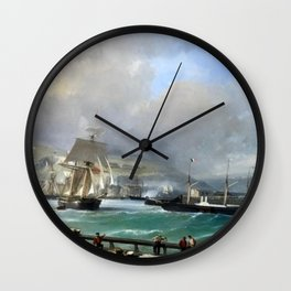 A Breezy Day Off Dover Harbour seascape nautical painting by Julius Hintz Wall Clock