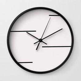 Mudcloth white black dashes Wall Clock