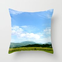 scotland Throw Pillows featuring Highlands Scotland by seb mcnulty