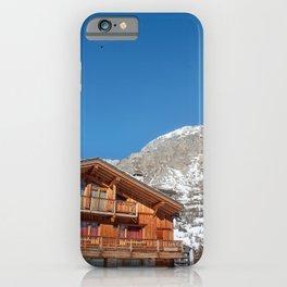 Paragliding in Alps in ski resort iPhone Case