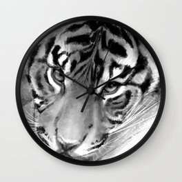 Tiger - Black and White Wall Clock