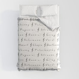 Classical Music Composers, pattern, Mozart, Beethoven, Chopin Comforters