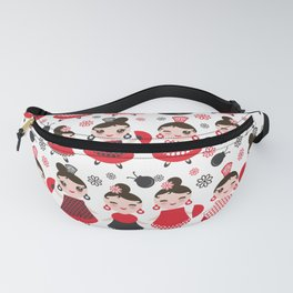 pattern spanish Woman flamenco dancer. Kawaii cute face with pink cheeks and winking eyes. Fanny Pack