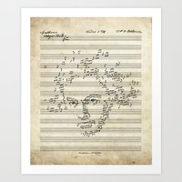 beethoven Art Prints featuring Beethoven by bananabread