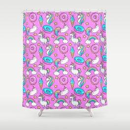 Kawaii Sweet Pink Glittery unicorn pattern Shower Curtain
