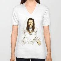 louis V-neck T-shirts featuring Louis by Myrtle Quillamor