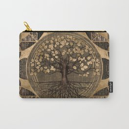 Tree of life - Yggdrasil - Wood and Gold Carry-All Pouch
