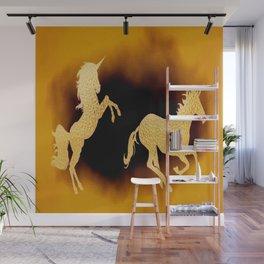 Golden couple unicorns-Beige Wall Mural