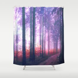 Woods in the outer space Shower Curtain