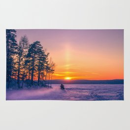 The snow mobile race toward the Sun pillar Rug