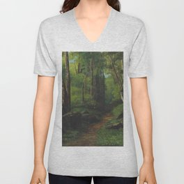 """Gustave Courbet """"Path through the Forest"""" Unisex V-Neck"""