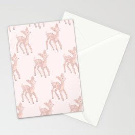 Little deer/fawn cross stitch pattern in pink Stationery Cards