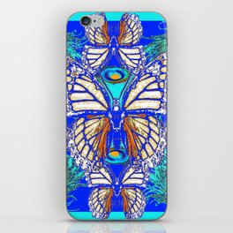 TURQUOISE & CREAM COLORED BUTTERFLIES  BLUE PEACOCK ART iPhone Skin
