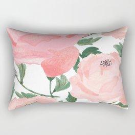 Peony Watercolor Collage Rectangular Pillow