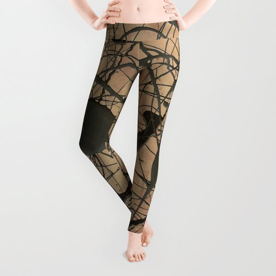 Pollock Inspired Abstract Black On Beige Leggings