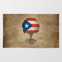 puerto rico Area & Throw Rugs featuring Vintage Tree of Life with Flag of Puerto Rico by Jeff Bartels