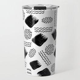 Black white geometrical 80s pattern paint brushstrokes Travel Mug