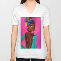 african V-neck T-shirts featuring African by Ksuhappy