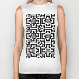 Black and white op art pattern with stars and striped lines Biker Tank