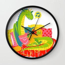 Knitting Dragon Wall Clock