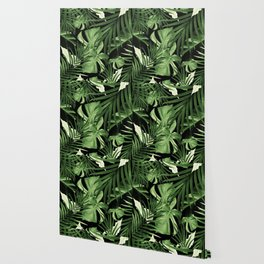 Tropical Jungle Night Leaves Pattern #5 #tropical #decor #art #society6 Wallpaper