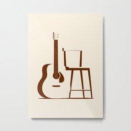 Guitar and Chair Metal Print