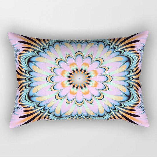 Decorative fantasy flower with a pastels heart Rectangular Pillow