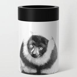 Black and white lemur animal portrait Can Cooler